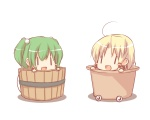 2girls :d ahoge blonde_hair blush_stickers bucket chibi green_hair hair_bobbles hair_ornament hiraga_matsuri in_bucket in_container in_hat kisume moriya_suwako multiple_girls open_mouth parody pyonta ribbon smile touhou wooden_bucket |_|