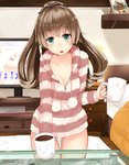 1girl alternate_costume aqua_eyes bed breasts brown_hair casual coffee coffee_mug collarbone cup framed_image glass_table hair_ornament holding holding_cup indoors kantai_collection kumano_(kantai_collection) long_hair looking_at_viewer loungewear mat medium_breasts mug narushima_kanna open_mouth panties pantyshot pantyshot_(standing) pom_pom_(clothes) ponytail solo standing striped_hoodie striped_jacket suzuya_(kantai_collection) table television_screen twitter_username underwear white_panties
