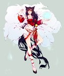 1girl absurdly_long_hair ahri animal_ears black_hair boots breasts commentary detached_sleeves fox_ears fox_girl fox_tail kae_hokora knee_boots league_of_legends long_hair low-tied_long_hair multiple_tails solo standing standing_on_one_leg tagme tail thighs traditional_media very_long_hair watercolor_(medium) yellow_eyes