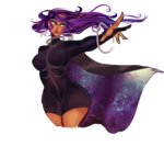 1girl anklet azubelle breasts cape cropped_legs dark_skin earrings gojika_(pokemon) gym_leader highres jewelry large_breasts outstretched_arm pokemon pokemon_(game) pokemon_xy purple_hair skin_tight solo star star_earrings transparent_background unitard