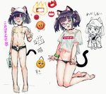 :3 :d animal_ear_fluff animal_ears bangs bare_arms bare_legs bare_shoulders barefoot baseball_cap bikini black_choker black_panties black_shorts blue_hair breasts cat_ears cat_girl cat_tail choker collarbone commentary_request covered_nipples emoji fang fangs green_bikini green_hair grey_background groin hat highres jacket kneeling looking_at_viewer micro_bikini micro_shorts multicolored_hair multiple_views navel off_shoulder open_clothes open_fly open_jacket open_mouth open_shorts original panties panty_pull purple_eyes purple_hair pyonsuke_(pyon2_mfg) shirt shoes short_sleeves shorts sketch small_breasts smile soles standing streaked_hair sunglasses swimsuit tail translation_request twintails underwear v v-shaped_eyebrows white_headwear white_shirt