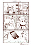 (o)_(o) ahoge air_guitar cellphone comic commentary computer emphasis_lines headphones highres horns kantai_collection keyboard_(computer) long_hair mittens monitor monochrome moomin mouse_(computer) muppo musical_note no_humans northern_ocean_hime phone sazanami_konami shinkaisei-kan sitting smartphone tail translated