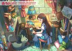 1girl apron artist_name basket blue_dress blue_eyes book bookshelf bow bracelet braid brown_hair buttons carpet cat clock copyright_name dated desk dress easel flower french_braid green_eyes hair_bow holding indoors jar jewelry lamp long_hair looking_down looking_to_the_side open_mouth original painting_(object) pillow pippi_(pixiv_1922055) plant sitting smile solo stool striped striped_dress stuffed_animal stuffed_bird stuffed_cat stuffed_mouse stuffed_toy vial whiskers window wooden_floor yarn yarn_ball