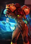1girl absurdres arm_cannon blonde_hair blue_bodysuit bodysuit breasts closed_eyes commentary covered_navel different_reflection english_commentary hair_down helmet highres long_hair metroid metroid_(creature) monori_rogue power_armor reflection samus_aran science_fiction skin_tight small_breasts solo_focus space space_craft varia_suit weapon zero_suit