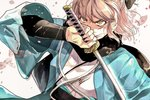 1girl blood blood_on_face bloody_clothes bruise cherry_blossoms fate/grand_order fate_(series) hair_ribbon haori injury japanese_clothes katana okita_souji_(fate) okita_souji_(fate)_(all) ribbon scarf serious sword weapon wide_sleeves wiping_face yellow_eyes