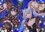 4girls absurdres animal_ears black_hair blonde_hair blush bracelet braided_ponytail breasts brown_hair capelet choker cleavage cloak closed_eyes commentary_request death_(granblue_fantasy) draph drill_hair earrings erune eyebrows_visible_through_hair fraux globe granblue_fantasy grey_eyes harvin highres huge_filesize jewelry leotard long_hair long_sleeves looking_at_viewer lying medium_breasts multiple_girls myusha on_back one_eye_closed open_mouth pointy_ears red_eyes sparkle teresa_(granblue_fantasy) twin_drills white_hair wide_sleeves