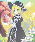 1girl absurdres blonde_hair chin_strap dress flower gosick gothic_lolita green_eyes hat highres holding holding_pipe l4no lily_(flower) lolita_fashion long_hair looking_at_viewer pipe sky solo tree victorica_de_blois