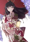 1girl :o back_bow bangs black_hair blurry bow chiro_(bocchiropafe) commentary_request depth_of_field floral_print flower green_eyes hair_ornament hairclip highres holding holding_umbrella japanese_clothes kimono kurosawa_dia light_blush long_hair long_sleeves love_live! love_live!_sunshine!! mole mole_under_mouth oriental_umbrella purple_flower sash solo umbrella wide_sleeves wisteria