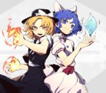 2girls bangs black_headwear blonde_hair blue_eyes blue_hair bow character_name fire hair_bow hat hat_bow ice kuzudon looking_at_viewer mai_(touhou) medium_hair multiple_girls open_mouth parted_bangs puffy_short_sleeves puffy_sleeves red_ribbon ribbon short_sleeves skirt skirt_set smile touhou touhou_(pc-98) wavy_hair white_bow yellow_eyes yuki_(touhou)