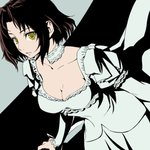 1girl baccano! black_hair breasts chane_laforet cleavage commentary_request dress juliet_sleeves long_sleeves medium_breasts oto_nagi puffy_sleeves short_hair sidelocks solo white_dress yellow_eyes
