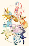 :3 blue_eyes brown_eyes eevee eeveelutions espeon flareon glaceon jolteon kotori_(lycka) leafeon looking_at_another looking_to_the_side no_humans open_mouth pink_background pokemon pokemon_(creature) purple_eyes red_eyes smile sylveon umbreon vaporeon