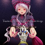 1girl ainz_ooal_gown commentary_request cuffs dress english gothic_lolita handcuffs jewelry k-ta lavender_hair lolita_fashion long_hair looking_at_viewer nail_polish out_of_frame overlord_(maruyama) pink_nails pov red_eyes ring shalltear_bloodfallen slit_pupils solo_focus thumb_ring very_long_hair