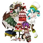 3girls :d apron bangs blue_hair boots bow brown_hair cake character_request chino_machiko copyright_request dress food gradient_hair green_dress hair_bow hairband hat heart holding long_hair long_sleeves multicolored_hair multiple_girls open_mouth parted_bangs pastry_bag platform_footwear purple_eyes purple_hair red_eyes rozen_maiden shoes simple_background smile standing standing_on_one_leg stool striped striped_legwear thighhighs vertical-striped_legwear vertical_stripes very_long_hair waist_apron white_apron white_background white_footwear