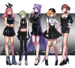 5girls :d asymmetrical_hair black_dress black_footwear black_gloves black_hairband black_headwear black_jacket black_pants black_skirt blonde_hair boots bracelet braid breasts brown_eyes brown_hair cleavage collar collarbone crop_top double_bun dress earrings french_braid freyja_wion full_body gloves green_eyes green_hair green_nails hair_between_eyes hair_ornament hairband half_gloves hat heart heart_hair_ornament high_heel_boots high_heels jacket jewelry kaname_buccaneer long_hair long_sleeves looking_at_viewer macross macross_delta makina_nakajima medium_breasts midriff mikumo_guynemer miniskirt multicolored_hair multiple_girls nail_polish navel necklace open_clothes open_jacket open_mouth pants pink_hair pumps purple_eyes purple_hair purple_nails reina_prowler ring shimatani_azu shiny shiny_hair shirt short_dress short_hair short_sleeves single_braid skirt sleeves small_breasts smile standing stomach suspender_skirt suspenders thigh_gap two-tone_hair very_long_hair white_background white_shirt