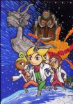 2boys 2girls artist_request company_connection cosplay crossover explosion falco_lombardi fox_mccloud ganondorf gloves highres link makar medli monster_girl multiple_boys multiple_girls one_eye_closed parody peppy_hare planet pointy_ears rito space_craft star_fox tetra the_king_of_red_lions the_legend_of_zelda the_legend_of_zelda:_the_wind_waker toon_link