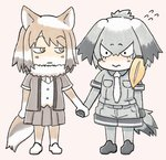 2girls 3: :| animal_ears bangs bird_tail blonde_hair chibi closed_mouth commentary_request edano_kiui elbow_gloves eyebrows_visible_through_hair flying_sweatdrops fox_ears fox_tail fur_collar gloves grey_hair grey_shirt grey_shorts hair_between_eyes highres holding_hands jitome kemono_friends light_brown_hair looking_at_another low_ponytail medium_hair multicolored_hair multiple_girls necktie pink_background pleated_skirt shirt shoebill_(kemono_friends) shorts side_ponytail simple_background skirt tail tibetan_sand_fox_(kemono_friends) wavy_mouth white_hair white_neckwear