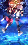 2boys arms_up blue_eyes brown_hair cloud fingerless_gloves gloves highres hood hoodie instrument jewelry keyblade keyhole kingdom_hearts kingdom_hearts_3d_dream_drop_distance male_focus multiple_boys necklace open_mouth reflection riku shirt shorts silver_hair sky sleeveless sleeveless_shirt sora_(kingdom_hearts) sunakumo water_drop wristband