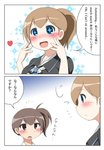 +_+ 2koma black_shirt blue_background blue_eyes blush brown_eyes brown_hair comic earth_ekami engrish gradient gradient_background heart highres intrepid_(kantai_collection) kaga_(kantai_collection) kantai_collection open_mouth ponytail ranguage shirt short_hair side_ponytail simple_background smile sparkle translation_request upper_body white_background