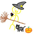 :d androgynous animal animal_on_shoulder barefoot bird bird_on_shoulder black_cat broom cat child_drawing copyright_request grey_hat hair_ornament halloween hat holding holding_broom jack-o'-lantern legs_apart looking_at_viewer lowres minimalism nude open_mouth pumpkin simple_background smile standing star star_hair_ornament stick_figure white_background witch_hat yellow_eyes yellow_skin