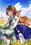 1girl ahoge animal arm_rest bangs blue_sky blush brown_hair bunny cherim closed_mouth cloud cloudy_sky commentary_request day deer field flower flower_field hair_flower hair_ornament hanbok highres korean_clothes light_particles long_sleeves looking_at_viewer meadow mole mole_under_eye original outdoors rock short_hair sky smile solo tareme yellow_eyes yellow_flower