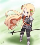 1girl abigail_williams_(fate/grand_order) achilles_(fate) achilles_(fate)_(cosplay) arm_behind_back arm_grab armored_boots bangs black_gloves black_pants blonde_hair blue_eyes blush boots bow breastplate brown_bow closed_mouth commentary_request cosplay eyebrows_visible_through_hair eyes_visible_through_hair fate/grand_order fate_(series) forehead from_above gloves green_bow hair_bow highres holding holding_spear holding_weapon kujou_karasuma long_hair looking_at_viewer looking_up multiple_hair_bows pants parted_bangs pauldrons polearm signature solo spear standing very_long_hair weapon