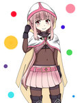 1girl black_gloves blush cloak closed_mouth eyebrows_visible_through_hair gloves hood hood_up hooded_cloak looking_at_viewer magia_record:_mahou_shoujo_madoka_magica_gaiden magical_girl mahou_shoujo_madoka_magica navel pink_eyes pink_hair skirt smile solo tamaki_iroha white_background