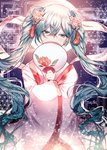 1girl absurdres aqua_eyes aqua_hair chinese_clothes chuushuu_meigetsu_miku commentary covering_mouth fan fan_over_face floral_print flower ggatip hagoromo hair_flower hair_ornament half-closed_eyes hatsune_miku highres huge_filesize long_hair looking_at_viewer moon night paper_fan rose shawl sky solo star_(sky) starry_sky tassel twintails uchiwa upper_body very_long_hair vocaloid wide_sleeves