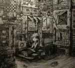 1girl absurdres backpack bag braid directional_arrow greyscale hat highres lantern long_hair looking_away looking_up monochrome original outdoors railing sewer shoes sign sitting sneakers solo speech_bubble stairs twin_braids usio_ueda water