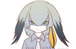 ! ... 1girl 3: ? animated artist_name bangs blinking blush commentary_request disembodied_limb dot_nose embarrassed flying_sweatdrops frown green_eyes grey_hair grey_shirt hair_between_eyes hand_on_another's_face head_wings kemono_friends looking_at_viewer low_ponytail medium_hair multicolored_hair necktie orange_hair shaded_face shirt shoebill_(kemono_friends) side_ponytail solo_focus ugoira upper_body white_neckwear wince yama_gan