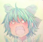 1girl acrylic_paint_(medium) ahoge blue_hair bow cirno fang graphite_(medium) hair_bow ice ice_wings no_pupils open_mouth portrait short_hair shouting solo touhou traditional_media watercolor_(medium) wings yuyu_(00365676)