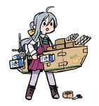 1girl ahoge boots bow bowtie box cardboard_box cardboard_box_gundam cosplay cross-laced_footwear grey_hair grey_legwear hair_bun halterneck kantai_collection kiyoshimo_(kantai_collection) lace-up_boots long_hair low_twintails lowres milk_carton nelson_(kantai_collection) nelson_(kantai_collection)_(cosplay) pantyhose school_uniform scissors shirt simple_background solid_oval_eyes solo standing tape terrajin twintails very_long_hair white_background white_shirt