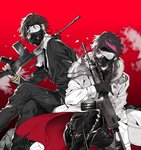 2boys assault_rifle battle_rifle black_gloves black_hair broken_glass broken_mask brown_hair closed_eyes coat commentary_request f_(senjuushi) fal_(senjuushi) fn_fal fn_fnc formal futaba_hazuki gas_mask glass gloves gun holding holding_gun holding_weapon leather male_focus multicolored_hair multiple_boys necktie pants pinstripe_suit purple_eyes rifle senjuushi:_the_thousand_noble_musketeers shirt short_hair shoulder_armor sitting squatting streaked_hair striped suit torn_clothes torn_pants torn_shirt weapon