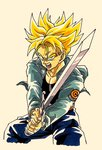 1boy black_shirt blonde_hair blue_eyes capsule_corp commentary denim denim_jacket dragon_ball dragon_ball_z fighting_stance frown highres holding holding_sword holding_weapon jacket jeans lee_(dragon_garou) male_focus open_mouth pants shirt simple_background spiked_hair super_saiyan sword teeth trunks_(future)_(dragon_ball) upper_body weapon white_background