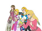 bandana blonde_hair blush clenched_hands closed_eyes dress empty_eyes gaijin_4koma hair_tubes hand_to_own_mouth hands_together laughing long_hair multiple_persona open_mouth pants pointing pointy_ears princess_zelda sheikah_slate shirt short_hair sidelocks simple_background smile taking_picture tetra the_legend_of_zelda the_legend_of_zelda:_a_link_between_worlds the_legend_of_zelda:_breath_of_the_wild the_legend_of_zelda:_ocarina_of_time the_legend_of_zelda:_skyward_sword the_legend_of_zelda:_the_wind_waker the_legend_of_zelda:_twilight_princess tiara usushira white_background