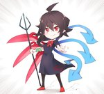 1girl ahoge asutora asymmetrical_wings black_dress black_hair black_legwear blue_wings bow bowtie chibi commentary dress emphasis_lines full_body hair_between_eyes holding holding_weapon houjuu_nue pointy_ears polearm red_bow red_eyes red_footwear red_neckwear red_wings shoes short_hair short_sleeves simple_background snake solo standing touhou trident weapon white_background wings