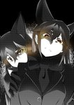 2girls animal_ears bangs blazer bow bowtie brown_eyes closed_mouth commentary ezo_red_fox_(kemono_friends) fox_ears frown glaring gloves greyscale halftone hand_on_another's_shoulder highres jacket kaya_(nari1-24) kemono_friends long_hair looking_at_viewer monochrome multiple_girls silver_fox_(kemono_friends) spot_color standing upper_body