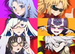 adjusting_eyewear black_hair blonde_hair blue_eyes blue_hair braid brynhildr_(fate) caster earrings eyebrows_visible_through_hair face facial_mark fangs fate/grand_order fate_(series) forehead_mark glasses grin heterochromia jewelry karna_(fate) looking_at_viewer meiji_ken mordred_(fate) mordred_(fate)_(all) open_mouth pointy_ears purple_eyes semi-rimless_eyewear sesshouin_kiara shuten_douji_(fate/grand_order) side_braid signature smile sunglasses thumbs_up wavy_hair white_hair yellow_eyes