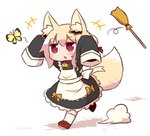 +++ 1girl alternate_costume animal animal_ear_fluff animal_ears apron arms_up bangs bell bell_collar black_dress blonde_hair blush bow broom brown_collar brown_footwear bug butterfly chasing collar commentary_request dress enmaided eyebrows_visible_through_hair fox_ears fox_girl fox_tail frilled_apron frilled_dress frills full_body hair_between_eyes hair_bun hair_ribbon insect jingle_bell kemomimi-chan_(naga_u) loafers long_sleeves maid maid_headdress naga_u orange_bow original red_eyes red_ribbon ribbon running shadow shoes sidelocks sleeves_past_fingers sleeves_past_wrists socks solo tail tail_raised white_apron white_background white_bow white_legwear