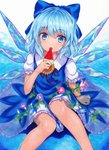 1girl :o arm_up bangs blue_background blue_bow blue_dress blue_hair bow cirno commentary_request dress eating eyebrows_visible_through_hair flower food hair_between_eyes hair_bow head_tilt highres kittona looking_at_viewer millipen_(medium) morning_glory on_ground outstretched_leg pinafore_dress popsicle puffy_short_sleeves puffy_sleeves red_ribbon ribbon short_hair short_sleeves sitting solo sunflower tanned_cirno touhou traditional_media undershirt watercolor_(medium) watercolor_pencil_(medium) watermelon_bar wings