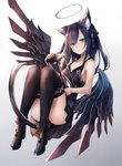 1girl :o animal_ears bangs bare_arms bare_shoulders black_dress black_hair black_legwear black_ribbon black_wings blue_eyes boots breasts brown_footwear cat_ears cat_girl cat_tail collarbone commentary_request dress eyebrows_visible_through_hair fingernails full_body gradient gradient_background hair_between_eyes hair_ornament hair_ribbon halo high_heel_boots high_heels highres hourglass inaba_sunimi knees_up long_fingernails long_hair looking_at_viewer low_wings mechanical_wings open_mouth original ribbon sleeveless sleeveless_dress small_breasts solo spread_wings tail thighhighs wings