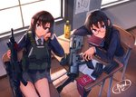 2girls arm_support armband armband_removed assault_rifle bag black_hair blue_eyes book bottle brown_hair bulletproof_vest classroom dreadtie glasses gun highres indoors load_bearing_vest magazine_(weapon) multiple_girls original pantyhose purple_eyes rifle school_bag school_uniform signature sitting weapon window