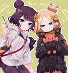 2girls abigail_williams_(fate/grand_order) bangs black_bow black_jacket blonde_hair blue_eyes blush bow brown_hair closed_mouth commentary_request crossed_bandaids eyebrows_visible_through_hair fate/grand_order fate_(series) fingernails green_background hair_bow hair_bun hair_ornament hand_up head_tilt heart heroic_spirit_traveling_outfit holding holding_paintbrush holding_pencil hood hood_down hooded_jacket jacket katsushika_hokusai_(fate/grand_order) long_hair long_sleeves multiple_girls object_hug orange_bow outline paintbrush pants parted_bangs pencil polka_dot polka_dot_background polka_dot_bow purple_eyes purple_pants sleeves_past_fingers sleeves_past_wrists smile stuffed_animal stuffed_toy teddy_bear tentacles tokitarou_(fate/grand_order) toranosuke v-shaped_eyebrows white_jacket white_outline