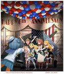 6+girls >_< alcohol arms_up balloon banner blonde_hair blue_eyes blue_hair blurry boots brown_hair champagne closed_eyes commentary_request depth_of_field double_bun dress elbow_gloves english_text f6f_hellcat flag gambier_bay_(kantai_collection) gloves hairband hat highres intrepid_(kantai_collection) iowa_(kantai_collection) johnston_(kantai_collection) kantai_collection kitsuneno_denpachi long_hair long_sleeves multiple_girls open_mouth outstretched_arms photo_(object) sailor_hat samuel_b._roberts_(kantai_collection) saratoga_(kantai_collection) school_uniform serafuku short_hair short_sleeves shorts side_ponytail sleeveless smile standing star thighhighs translation_request twintails