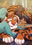 1girl 2016 aladdin_(disney) animal artist_name black_hair breasts brown_eyes cleavage danusko dark_skin disney earrings hand_on_another's_head highres jasmine_(disney) jewelry lying midriff navel on_back one_eye_closed parted_lips paws petting ponytail pot rajah_(disney) smile tail tiger water waterfall