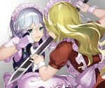 2girls :p apron bangs battle blonde_hair blue_dress blue_eyes bow braid commentary_request dress duel eyebrows_visible_through_hair face-to-face from_behind gloves gradient gradient_background green_bow green_neckwear grey_background hair_between_eyes hair_bow holding holding_knife holding_sword holding_weapon izayoi_sakuya knife long_hair looking_at_another maid maid_apron maid_headdress multiple_girls nail_polish piyodesu puffy_short_sleeves puffy_sleeves red_dress red_nails reverse_grip shirt short_hair short_sleeves silver_hair smile sword tongue tongue_out touhou touhou_(pc-98) twin_braids upper_body very_long_hair waist_apron weapon white_apron white_background white_shirt wrist_cuffs yumeko