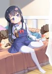1girl bangs bed black_hair blue_dress blue_eyes blurry blurry_background blush_stickers brown_footwear closed_mouth commentary_request curtains depth_of_field dress eyebrows_visible_through_hair flower full_body hair_flower hair_ornament head_tilt higero_(wataten) highres holding holding_shoes indoors loafers long_hair long_sleeves no_shoes on_bed pantyhose pillow pink_flower sailor_collar sailor_dress school_uniform shirosaki_hana shirt shoes shoes_removed sitting sitting_on_bed sleeveless sleeveless_dress smile solo too-ye transparent very_long_hair watashi_ni_tenshi_ga_maiorita! white_legwear white_sailor_collar white_shirt wooden_floor
