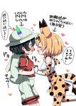 2girls :d ^_^ animal_ears backpack bag bare_shoulders black_hair blonde_hair blush closed_eyes commentary_request ear_blush elbow_gloves extra_ears face-to-face flustered flying_sweatdrops gloves happy hat hat_feather heart highres holding_hands interlocked_fingers kaban_(kemono_friends) kemono_friends multiple_girls nekonyan_(inaba31415) nose_blush open_mouth print_gloves print_legwear print_neckwear print_skirt profile red_shirt serval_(kemono_friends) serval_ears serval_print serval_tail shirt short_hair short_sleeves shorts simple_background sketch skirt sleeveless sleeveless_shirt smile tail thighhighs translated wavy_mouth white_background white_shirt white_shorts yuri