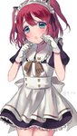 1girl :o animal_ears apron aqua_eyes artist_name bangs black_ribbon blush brown_neckwear cat_ears clenched_hands cowboy_shot dress eyebrows_visible_through_hair frilled_shirt_collar frills fuyuzima gloves hair_ribbon highres kemonomimi_mode kurosawa_ruby love_live! love_live!_sunshine!! maid maid_headdress neck_ribbon open_mouth paw_pose red_hair ribbon short_sleeves simple_background solo striped_neckwear two_side_up white_apron white_background white_gloves