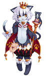 1girl animal_ears blush cait_sith_(monster_girl_encyclopedia) cat_ears cat_tail crown flat_chest furry kenkou_cross monster_girl monster_girl_encyclopedia navel short_hair smile solo tail wand white_hair yellow_eyes