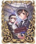 1boy 1girl blonde_hair book brown_hair carrying formal frame gosick gothic_lolita hairband hat hime_cut kujou_kazuya lolita_fashion lolita_hairband necktie painting pipe school_uniform victorica_de_blois wide_sleeves xuexue_yue_hua